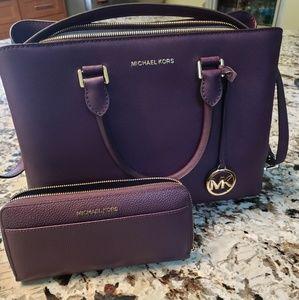 Michael Kors satchel purse and wallet